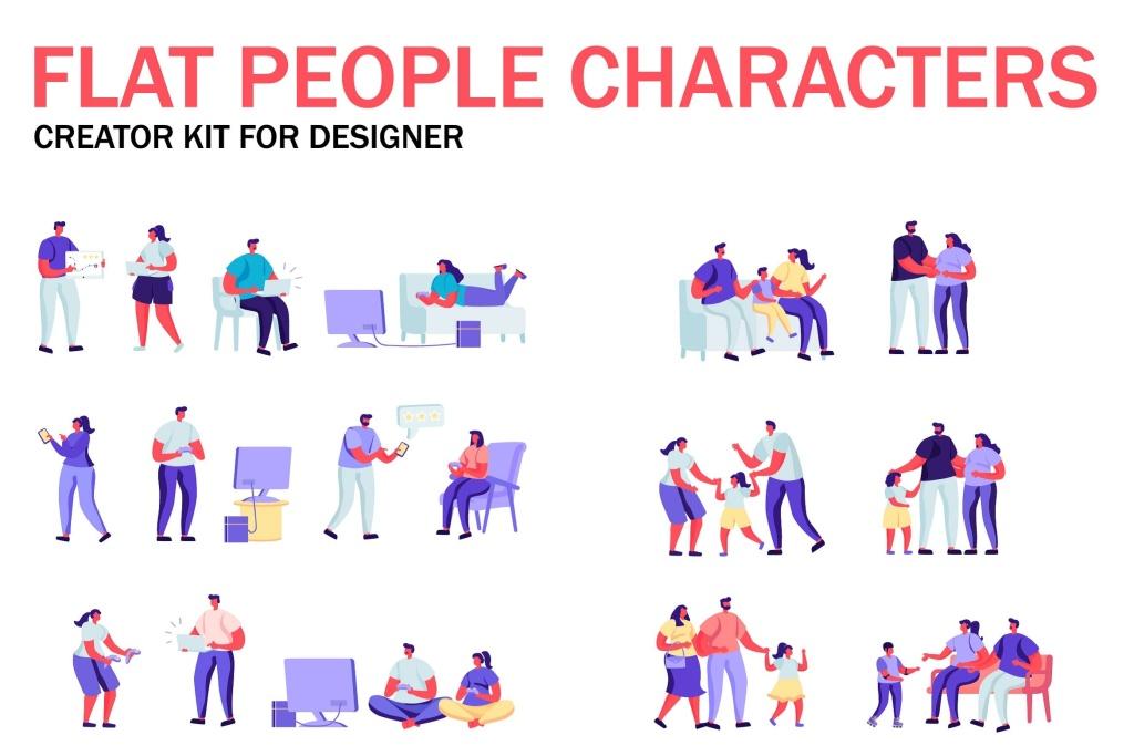 扁平化设计风格虚拟人物角色图形设计工具包v3 Flat People Character Creator Kit插图