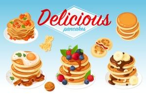 美味的薄煎饼美食矢量设计素材 Delicious Pancakes插图1