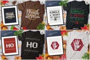 20款圣诞节主题复古风T恤印花图案设计素材包 Christmas T-Shirt Designs Retro Bundle. Xmas Tees插图4