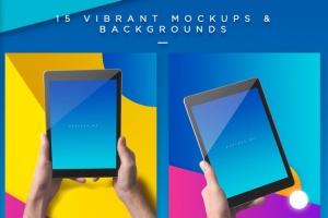iPad平板电脑应用程序UI展示样机模板 iPad Tablet UI App Mockups with Vivid Backgrounds插图7