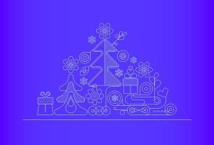 圣诞树线条艺术矢量插画素材 6 options of a Christmas Background插图6