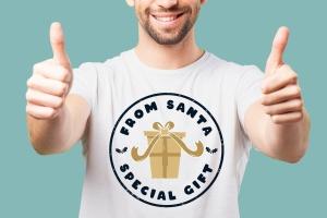 复古风格圣诞节主题T恤印花图案设计素材 Santa T-Shirt. Christmas Vector Print, Holiday SVG插图4