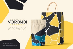 Voronoi不规则多边形几何图案PS笔刷 Voronoi Diagram Photoshop Brushes插图2