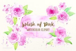 粉红色水彩剪贴画素材 Watercolor Clipart Splash of Pink插图1