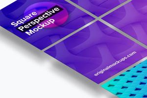 方形自媒体社交宣传设计效果图透视样机03 Square Perspective Mockup 03插图2