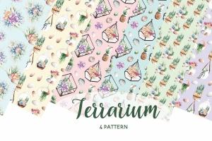 多肉植物水彩手绘图案PNG图片素材 Succulent Terrarium Watercolor插图2