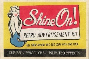 19世纪40-50年代复古风格广告设计图层样式 Shine On – Retro Advertisement Kit插图1