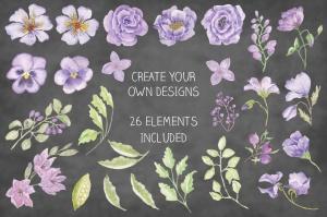 紫色水彩花卉边框&元素剪贴画PNG素材 Purple Watercolor Floral Border Plus Elements插图2