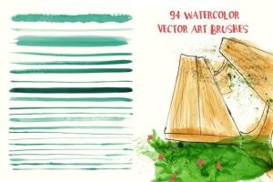 94种水彩艺术图案AI笔刷 Watercolor Vector Art Brushes插图2
