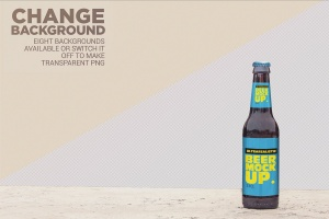 小瓶啤酒瓶外观设计样机模板 Stone Floor Beer Mockup插图2