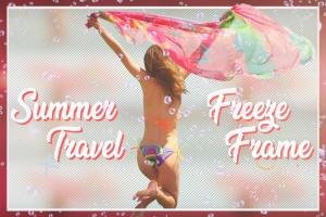 夏日旅行摄影后期处理添加相框PSD分层模板 Summer Travel Freeze Frame插图1