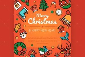 圣诞快乐&新年快乐矢量插画设计素材 Merry christmas and happy new year illustration插图1