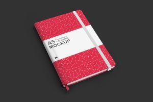A5精装笔记本/记事本外观设计样机模板01 A5 Hardcover Notebook Mockup 01插图4