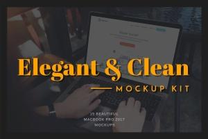 高雅干净利落笔记本电脑MacBook Pro样机 Elegant & Clean Macbook Pro Mockups插图1