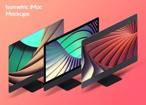 iMac一体机网站UI设计效果图预览样机素材v2 Isometric iMac Mockup 2.0插图2