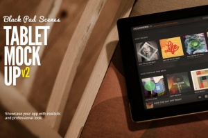 iPad平板电脑演示APP设计样机模板 Black iPad | Tablet App Scenes UI Mock-Up插图2