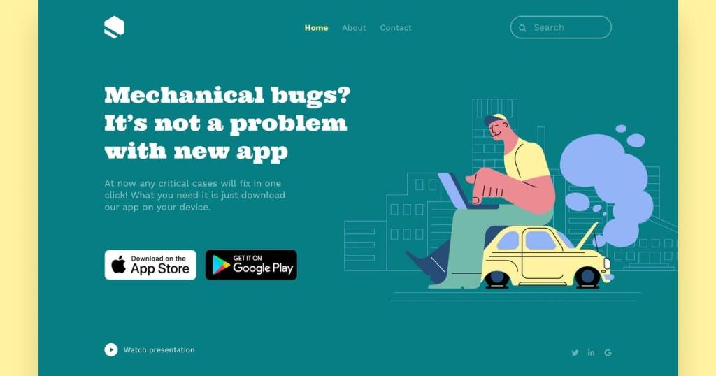 网站着陆页设计汽车维修服务矢量插画素材 Car Fixing Landing Page Illustrations插图