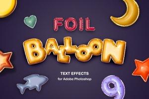 金箔气球文本效果字体特效样式PSD分层模板 Foil Balloon Text Effects插图1