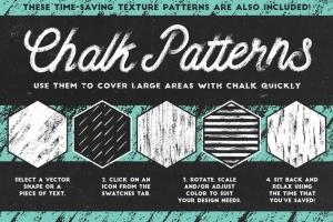 经典粉笔画黑板画AI笔刷 Classic Chalk – Brushes + Patterns插图5