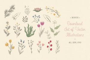 花卉元素图案AI笔刷 Floral Pattern Brushes For Illustrator插图5