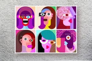 六款抽象女性人脸矢量插画素材 Six Faces / Six Characters vector illustration插图1