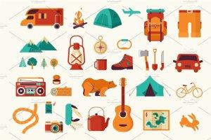 生存工具包图标和露营信息图 Survival Kit, camping infographics插图2