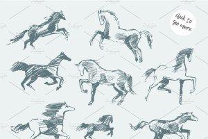 一套简笔手绘马矢量图  Set of hand drawn horses插图2