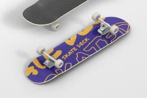 极限运动滑板图案设计样机 Skateboard Mockup插图1