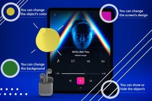 抽象设计风格iPad Pro平板电脑APP设计屏幕预览样机 Abstract iPad Pro Music App插图7