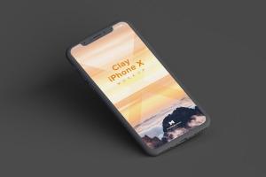 iPhone X苹果手机屏幕设计演示样机01 Clay iPhone X Mockup 01插图4