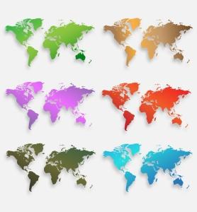 40种设计风格世界地图矢量图形设计素材下载 Map of the world 40 Version插图6