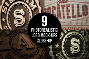逼真的高品质logo标志特写VI样机展示模型mockups插图1
