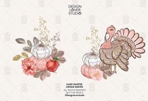 感恩节主题火鸡手绘图案数码纸张背景 Turkey Thanksgiving design插图3