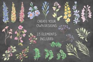 水彩手绘花卉边框&元素PNG素材 Field Flowers: Watercolor Border plus Elements插图(2)