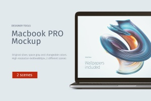 Macbook PRO电脑UI展示样机模板 Macbook PRO Mockup Front & Top views插图1