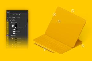 "12.9寸带键盘iPad Pro平板电脑等距右视图样机 Clay iPad Pro 12.9"" Mockup, Isometric Right View With Keyboard插图6"