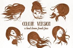 6个长发飘飘女子脸蛋头像矢量手绘图案素材 Wind in Your Hair – Hand drawn Girls' Faces插图2
