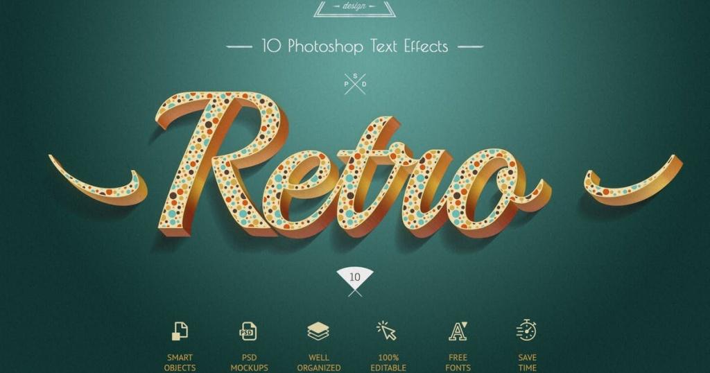 10款复古彩色立体字体样式PSD模板 Retro Colorful Text Effects – 10 PSD插图