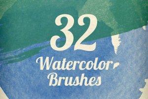 32个超高分辨率水彩笔触笔刷  Watercolor Strokes Brush Pack插图1