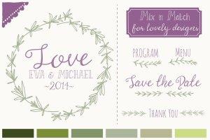 婚礼请柬迷迭香手绘剪贴画及矢量图  Rosemary Clip Art & Vectors插图2