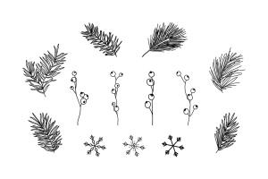 13种冬季元素涂鸦线条绘画图形素材 13 Winter Elements – Doodle Line Icons插图2