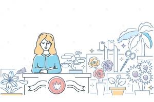 鲜花店场景线条艺术矢量插画 Flower shop – line design style illustration插图1