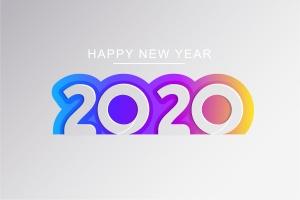 2020新年数字彩色矢量设计图形素材 2020 Happy New Year Greeting Card插图8