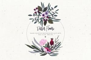 暗色手绘水彩花卉剪贴画PNG素材 Darker Flowers插图5