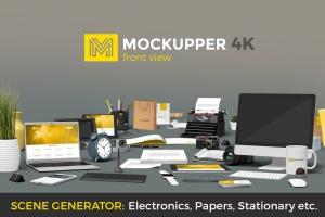 4K高品质的高端前视图办公场景元素VI样机展示模型mockups插图1