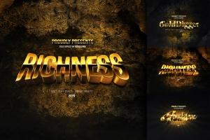 3D黄金立体字体样式PSD分层模板 Elegant Gold Text Effects插图1