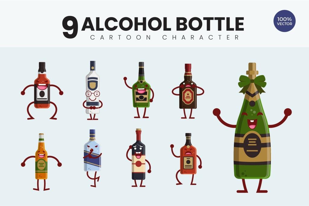 9个酒瓶可爱卡通形象矢量图 9 Cute Alcohol Bottle Vector Illustration插图