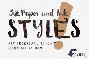 52款纸张&墨水PS样式图层 52 Paper&Ink Photoshop Styles插图1