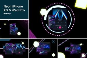 霓虹灯背景iPhone XS & iPad Pro样机模板 Neon iPhone XS & iPad Pro插图1