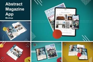 杂志印刷设计/杂志APP设计图预览样机样机 Abstract Magazine App Mouckup插图1